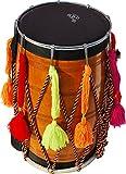 Punjabi Bhangra Dhol Trommel, Mango Holz, natürliches Finish, gepolsterte Gig Bag-Gürtel, Gurt, Sticks (Danka chanti), mit Schlüssel, leicht, mit Sound,