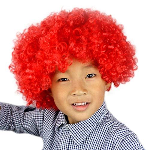 amen Party Disco Lustige Afro Clown Haar Fußball Fan Kinder Afro Maskerade Perücke D ()