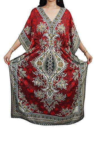 Indiatrendzs Women Kaftans Viscose Dashiki Red Kimono Kaftan Loose Dress 56\