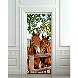 WHXJ DIY 3D Wandaufkleber Wandhauptdekor Pferde Stall Scheune Abnehmbare Tür Aufkleber Decole 77X200 cm