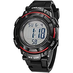 Unisex Sports Analog Digital Luminous Water Resistant Wrist Watches for Boys Girls(Red)