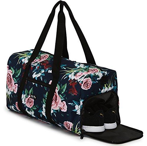 Ela Mo\'s Elegante Sporttasche Reisetasche mit Schuhfach   38 Liter Handgepäck Weekender   für Frauen und Männer   in 6 trendigen Designs - A Rose is A Rose