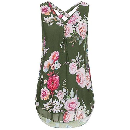 BHYDRY T-Shirt-Oberteile Damen Lose Blumen Bedruckte Chiffon ärmellose Tank V-Ausschnitt Reißverschluss Saum Scoop T Shirts Tops(Medium,Armeegrün) (Neck Scoop Stripe Top)