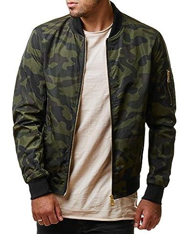 EightyFive Herren Jacke Übergangs Bomber Polyester Zipper Schwarz Khaki Camouflage EFS150, Größe:L, Farbe:Camouflage