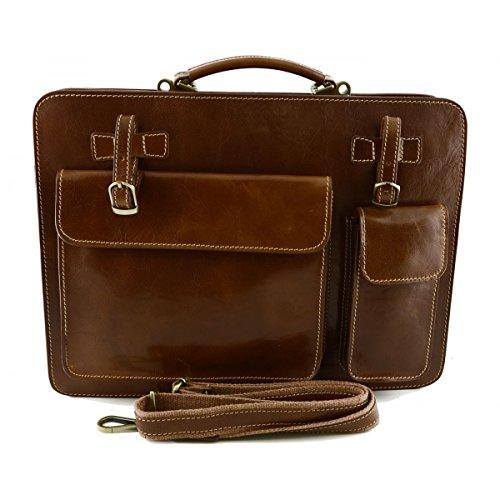 Echtes Leder Aktentasche Mod. Groß Farbe Tan - Italienische Lederwaren - Aktentasche (Leder Tan Aktentasche)