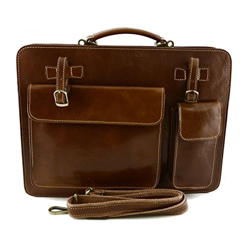 Echtes Leder Aktentasche Mod. Groß Farbe Tan - Italienische Lederwaren - Aktentasche (Leder Aktentasche Tan)