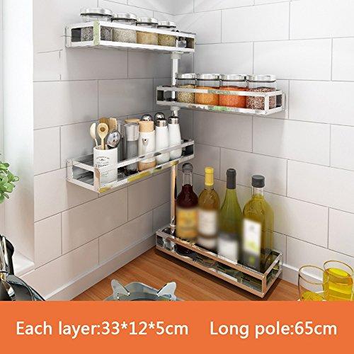 BOBE SHOP- Kitchen Corner Köcher Halter Free Punch Regal Wand Anhänger Regal Strap Suppe Gewürz Regal Multilayer Wand ( größe : 33*12*65cm ) -