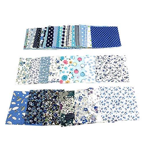 Kalaokei 50 Stück 10 x 10 cm Blumenmuster Patchwork Baumwolle Stoff einfarbig Stoff für DIY Nähen Quilten blau