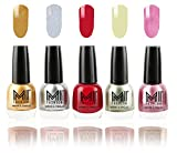 #2: Mi Fashion Nail Polish Combo Of 5 Shades - Glazing Golden, Shimmery Silver, Deep Red, Metallic Olive Green And Shining Pink - 12Ml Each