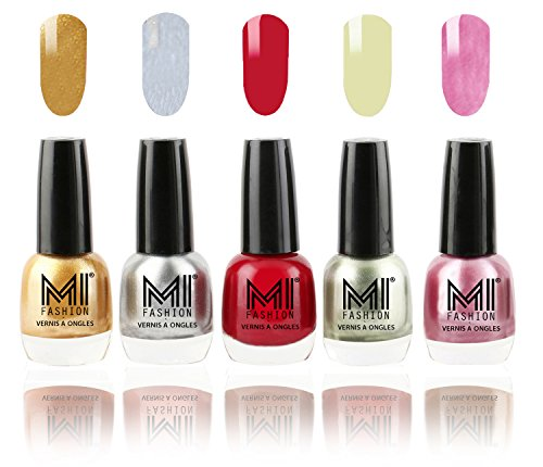 MI Fashion Ultimate Nail Polish Metallic Delight Combo of 5 Shades - Glazing Golden, Shimmery Silver, Deep Red, Metallic Olive Green and Shining Pink - 12ml each
