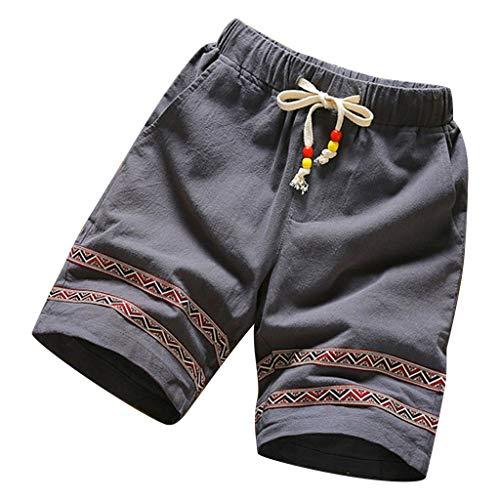 Jogginghose Herren GreatestPAK Herren Basic Shorts Mode Baumwolle Leinen Sommer Neue Bequeme Gestreifte Sportshorts,Grau,XL -