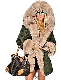 Roiii femmes manteau d'hiver à capuchon de fourrure faux parka veste décontractée manteau de luxe, plus la taille 36-52