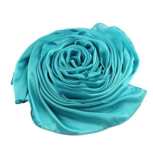 Mode Lady Silk Thin Sun Châle Multi-couleur 2pcs Blue3