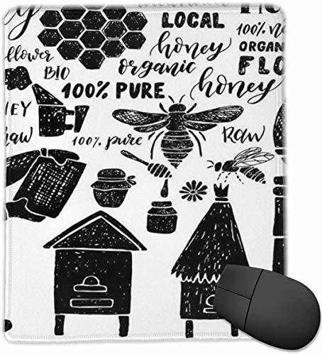Spiel-Mausunterlage, Landwirtschafts-Hand gezeichnetes Bienenwaben-Honig-Imker-Bienenhaus-Bienenzucht-Apis-Bienen-Multifunktions-Mousepad