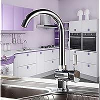 Auralum - Moderno Universal Cromo Grifo de Cocina Extraible para Fregadero 360°Rotación Caliente y Fría del Grifería, Color Plateado