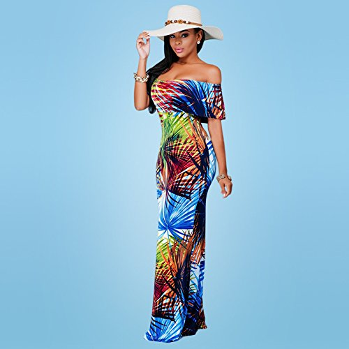 Blansdi Femmes Col Batuau Volantée Manches Courtes Sans Bretelles Floral Imprimer Beachwear Rétro Serré Sexy Maxi Robe de Bohême Clubwear Multicolore