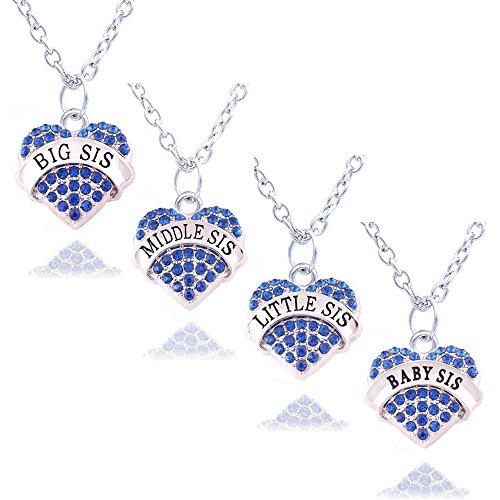 Halsketten-Set mit Herz-Anhängern mit blauen Strasssteinen, Familie, Schmuck, Schwestern, Geschenk für Damen, 4 Stück: