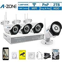 A-ZONE 4 Canale Kit Videosorveglianza Wireless 960P NVR 4x IP 720P Telecamere di Sorveglianza Senza Fili Esterno con Disco Rigido da 2 TB