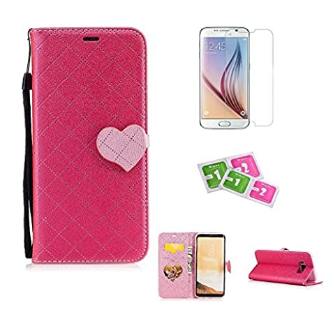 JGNTJLS Samsung Galaxy A5(2017)/A520 Case, [New Original Style] [with Free Tempered Glass Screen Protector] LOVE, Cute, Fashionable, Stylish, Cross-Embossing(Contrast-Colorful, Wrinkle-Design), Fax Leather-Shell(Artificial, Silky Touch Fully), Photos Frame Additional(Heart-Shaped, Transparent HD) [Small Black Lanyard Strap] Flip Wallet Card Slot Smart Stand Cover Ultra Slim Protective Folder Case Perfectly Fit For Samsung Galaxy A5(2017)/A520 [5.2