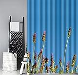 LINGCURTAIN Blauer Himmel Lila Lavendel mit BlumenDuschvorhänge Stoff 36