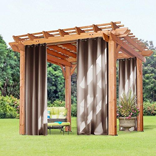 Outdoor Patio-möbel-set (Winddicht Wasserdicht Outdoor Vorhänge - PONY DANCE 1 Stück Verdunkelungsvorhänge mit Ösen, Mehltau beständig, für Gartenlauben Balkon, Strandhaus 240 x 132 cm (H X B), Cappuccino)