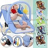 Infantastic - Transat bébé balancelle - avec barre à jouets - ceinture de sécurité avec 3 points de fixation - Bleu - MOTIF/COLORIS AU CHOIX