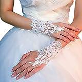 Die besten GENERIC Skihandschuh - Braut Hochzeit Handschuhe Party Kleid Spitze kurze Handschuhe Bewertungen
