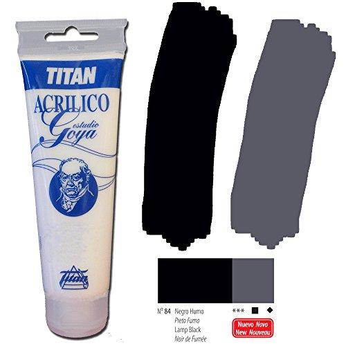 Colori bianco e nero Zinco studio Acrilici Titan Goya - Tubo 125 ml, 84-Black Smoke