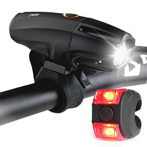 LED Beleuchtung Set, YAMI Lichter USB aufladbar Taschenlampe zum Aufladen Lampe mit Schalter wasserfest Frontlichter, Lampenset mit Frontlicht und Rücklicht, 6 Modi Akku 2600mAh