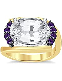 Silvernshine 4Ct Oval & Round Cut Sim Amethyst Diamonds 18K Yellow Gold Plated Engagement Ring