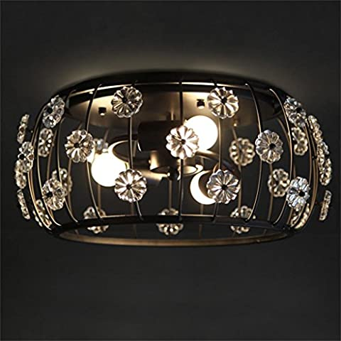 Eclairage de plafond- Simple American Art Round Crystal Light Fer