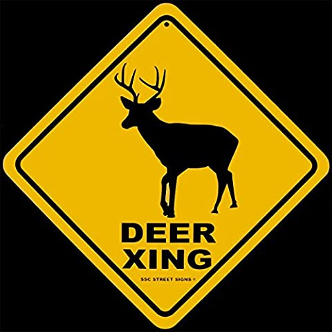 Buck Stag Deer Crossing Warning Caution Tin Street Sign