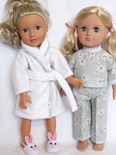 """Albornoz blanco y verde diseño de lunares pijama para DesignaFriend, muñeca, mi generación y otros 18muñecas """""""