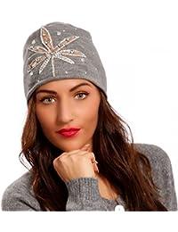 Damen Strickmütze Beanie mit Strasssteinen
