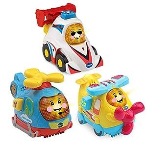 VTech Toot-Toot Drivers - Juguetes para Coche de bebé, 3 Unidades, Incluye helicóptero, Juguete para Coche y avión, Juguetes interactivos para niños y niñas de 1, 2, 3 años