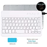 "Tempo QWERTY Italiano Layout Tastiera Wireless Bluetooth Keyboard 7"" Compatibile Qualsiasi Android / Windows /IOS-Smartphone Tablet,Samsung Galaxy Tab,Google Nexus,Amazon Fire-Bianco"