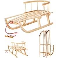 I.M.P Trineo infantil de madera con respaldo y patines
