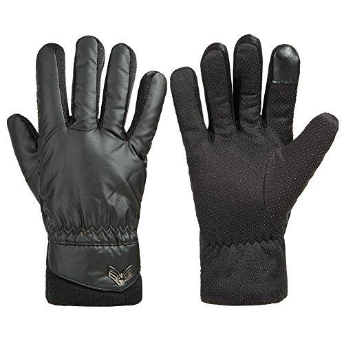 GLOUE Winter Warme Herren Handschuhe Outdoor Schwarz - Touchscreen Handschuhe Wasserdicht Winddicht Winterfest Rutschfest Dicke Handschuhe - Radfahren Motorradfahren (Für Handschuhe Herren Schwarze)
