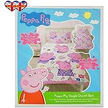 Peppa Pig - Juego De Funda Nórdica, para cama individual, oficial, de diseño con patrón
