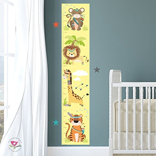 tribal-themed-jungle-growth-chart-monkey-lion-giraffe-and-tiger-nursery-wall-art-stickers