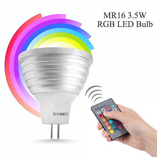 Preisvergleich Produktbild Senweit MR163,5W Farbwechsel LED Leuchtmittel mit Fernbedienung RGB Party Club Disco KTV Kristall Magic Ball Stage Effekt Lichter Hell Energiesparend Mood Lampe 16Farben, RGB, mr16, 3.50 wattsW 240.00 voltsV