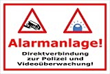 Video-Überwachung Aufkleber - Alarmanlage - Direktverbindung zur Polizei – 30x20cm – S00348-005-B – Kamera-Überwachung +++ in 20 Varianten erhältlich