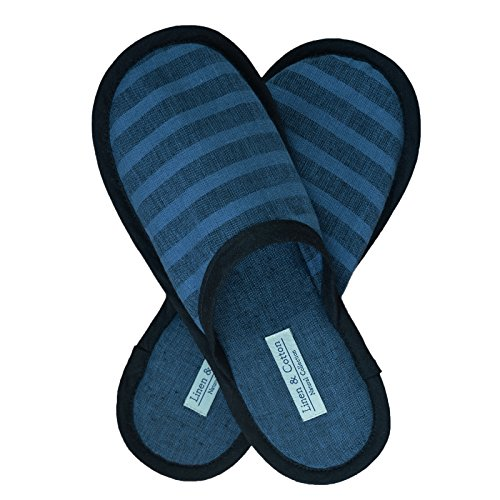 Linen & cotton pantofole di lino a casa uomo/donna akiro - 100% lino, (eur 41-42), nero/denim blu