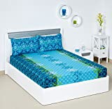 #7: Bombay Dyeing Blumen 104 TC Cotton Double Bedsheet with 2 Pillow Covers - Blue