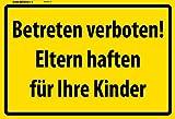 Betreten Verboten! Eltern haften für Ihre Kinder warnschild schild aus blech, tin sign, metallsign,