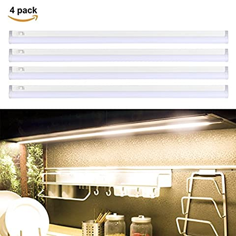S&G LED Under-Cabinet Lights 45CM 24W T5 Ultra Thin Under Counter Strip Lights with Switch for Kitchen Cupboard, Jewelry Cabinet 3000K (Warm