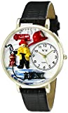 Whimsical Watches Unisex G0610027 Firefighter Black Padded Leather Watch best price on Amazon @ Rs. 1336
