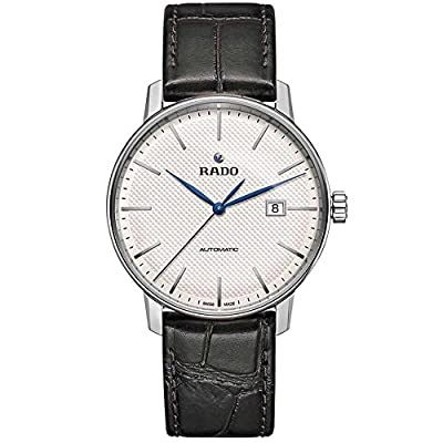 Rado Men's Coupole Classic 41mm Black Leather Band Steel Case Automatic White Dial Analog Watch R22876015