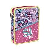 ASTUCCIO scuola SEVEN MAXI - SJ GIRL - 2 scomparti - pennarelli matite gomma ecc.. Rosa Blu