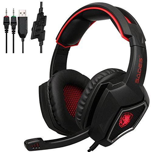 PS4Xbox One, PC, Sades Upgrade 3,5mm Wired Gaming Kopfhörer mit Mikrofon, tiefen Bass-Ear geräuschisolierend, Lautstärkeregler, für Laptop Mac Nintendo Schalter Spiele rot schwarz / rot ()